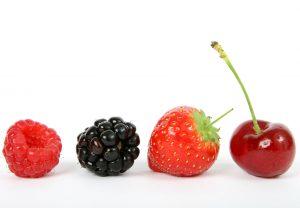 Bosvruchten: framboos, braam, aardbei, kers